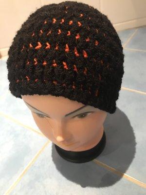 Unikat Einzelstück Bonnet en crochet noir-orange