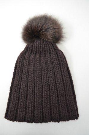 Bonnet à pompon brun foncé laine