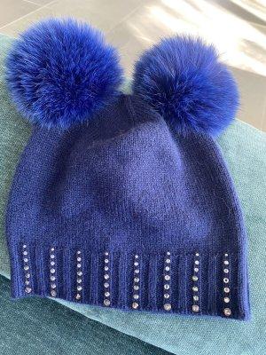Regina Futrzana czapka niebieski