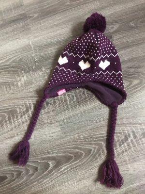 Mütze Roxy lila weiß Winter Bommel Herzen Muster ohrenwärmer