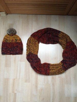 Gina Gebreide sjaal goud Oranje-rood