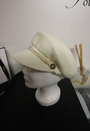 Cappello con visiera beige chiaro-oro
