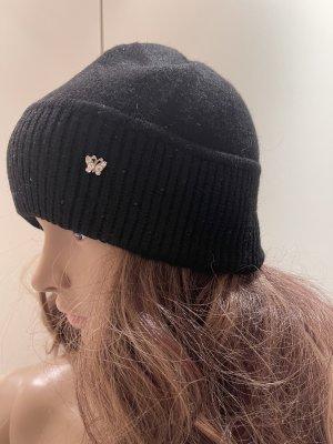 Mütze schwarz mit strass Cashmere silk neu