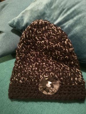 Mütze schwarz Weiss mit Leder lime schwarz
