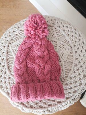 Mütze Strick pink Bommel blogger hipster boho