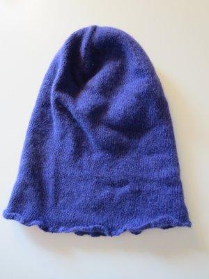 Mütze Strick Wolle lila