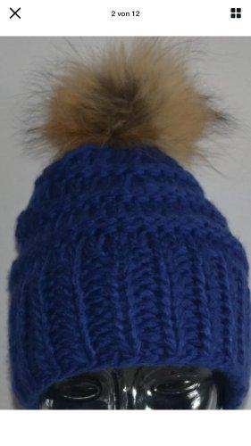 Mütze Strickmütze Bommelmütze blau ONE SIZE