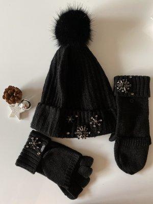 Victoria's Secret Sombrero de punto negro-color plata