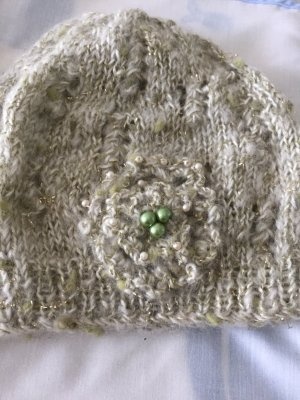 Crochet Scarf gold-colored-sage green