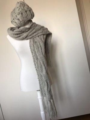 Seeberger Écharpe en tricot gris clair-blanc cassé