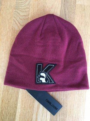 Karl Lagerfeld Sombrero de tela carmín-negro