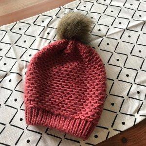 Pieces Sombrero de punto rosa empolvado-beige
