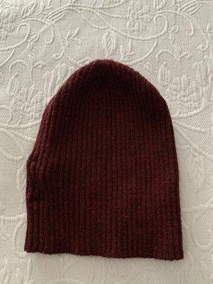 Zara Cappello a maglia marrone-rosso