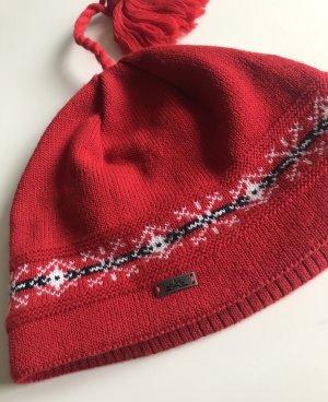Cappello in tessuto bianco-rosso scuro