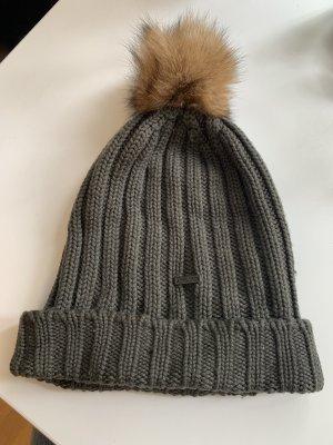 Woolrich Sombrero de punto verde oscuro-gris verdoso