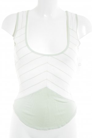 Mugler Basic Top creme-blassgrün Streifenmuster Casual-Look