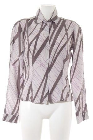 Mugler Langarm-Bluse blasslila-graulila abstraktes Muster Casual-Look