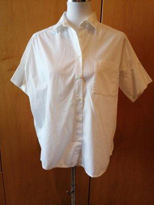 Muji Kurzarm Bluse Hemd weiß Gr. XS oversized