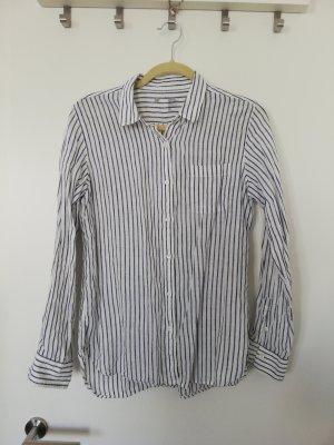 Muji Linnen blouse wit-donkerblauw