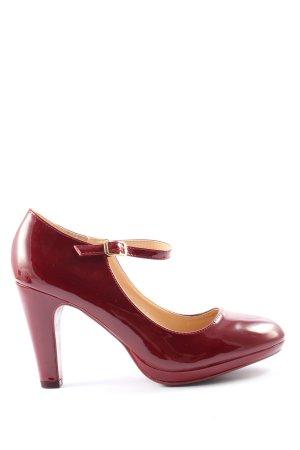 mulanka Chaussure à talons carrés rouge style d'affaires