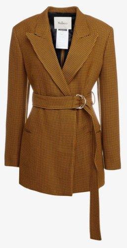 Mulberry Blazer en laine jaune foncé-brun noir