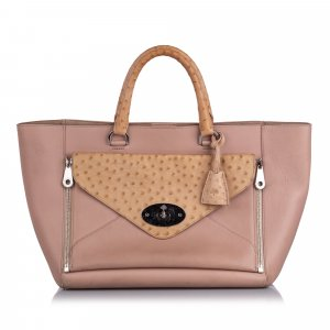 Mulberry Ostrich-Trimmed Willow Tote Bag