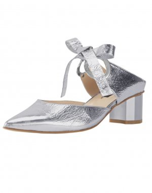 Zinda Heel Pantolettes silver-colored leather
