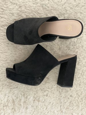 H&M Plateauzool sandalen zwart Imitatie leer