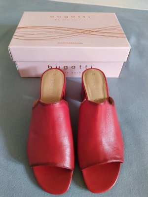 Bugatti Heel Pantolettes brick red-sand brown leather