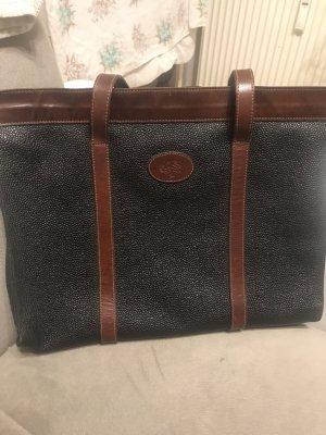 Handbag black-cognac-coloured
