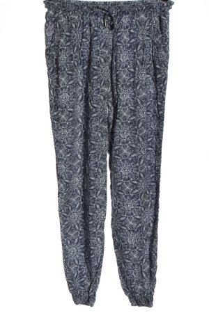 Multiblu Baggy Pants blau-weiß Allover-Druck Casual-Look