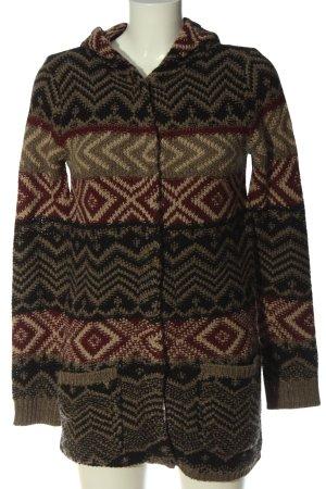 Multiblu Cardigan braun-wollweiß abstraktes Muster Elegant