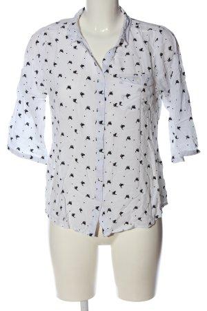 Multiblu Hemd-Bluse weiß-schwarz Allover-Druck Casual-Look