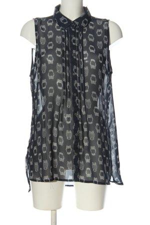 Multiblu Hemd-Bluse schwarz-weiß Allover-Druck Casual-Look