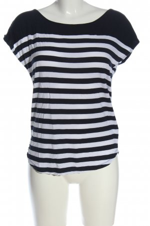 Multiblu Kurzarm-Bluse schwarz-weiß Streifenmuster Casual-Look