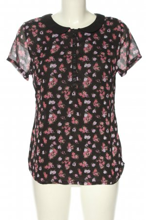 Multiblu Kurzarm-Bluse schwarz-pink Blumenmuster Casual-Look