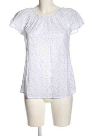 Multiblu Kurzarm-Bluse weiß-schwarz Allover-Druck Casual-Look