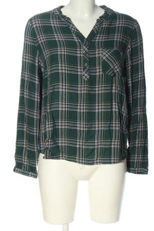 Multiblu Langarm-Bluse grün-weiß Allover-Druck Business-Look