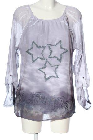 Multiblu Langarm-Bluse weiß-hellgrau Farbverlauf Casual-Look