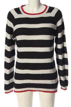 Multiblu Rundhalspullover weiß-schwarz Streifenmuster Casual-Look