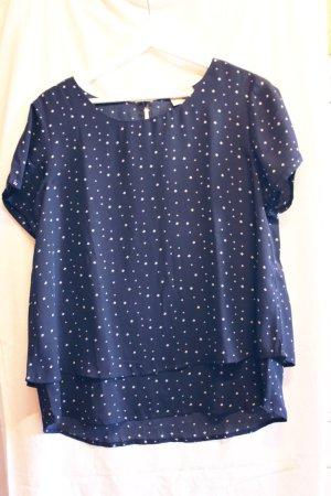 Multiblu Sommer-Bluse, dunkelblau mit filigranem Blümchenmuster