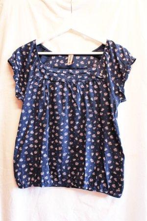 Multiblu Sommer-Shirt, dunkelblau mit zartem Blumenmuster