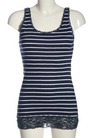 Multiblu Top di merletto blu-bianco motivo a righe stile casual