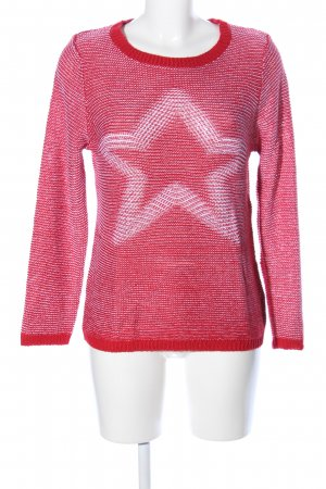 Multiblu Strickpullover rot-weiß Motivdruck Casual-Look