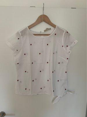 Multiblu Tshirt-Bluse weis mit Röschen-Print