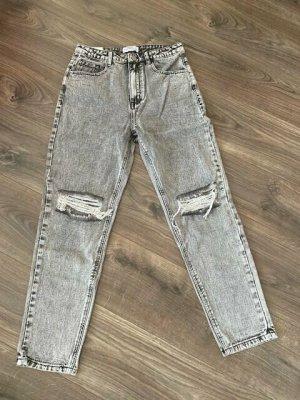 Jeans baggy argenté coton