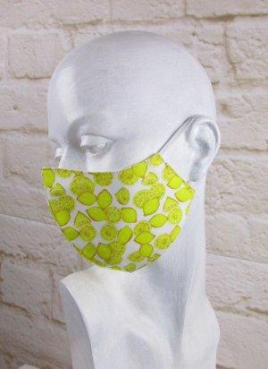 Mundmaske Staubmaske Gelb Zitrone Weiß 3D Druck Mehrweg Handmade Maske  Gesichtsmaske