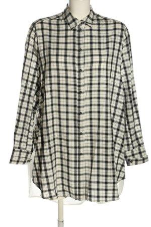MUNTHE Blouse oversized blanc-noir motif à carreaux style décontracté