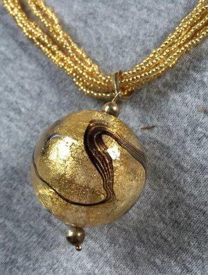 Murano Collier Goldfarben Kugel-Angänger