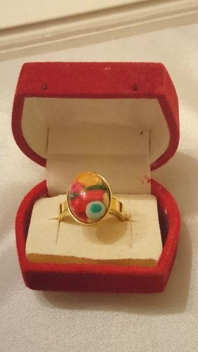 Muranoglas Ring Gold Edel Stahl bunt Gr.18